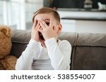 Picture Of Scared Little Boy O...