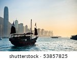 traditional chinese boat on... | Shutterstock . vector #53857825