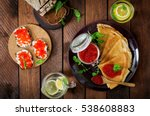 pancakes with red caviar on... | Shutterstock . vector #538608883