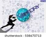 businessman release the power... | Shutterstock .eps vector #538670713