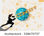 businessman release the power... | Shutterstock .eps vector #538670737
