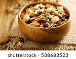 dried fruit and nuts trail mix... | Shutterstock . vector #538683523