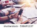 business woman hand working on... | Shutterstock . vector #538691137
