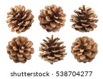 Pine Cones Isolated On A White...