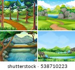 four scenes with river and tree ... | Shutterstock .eps vector #538710223