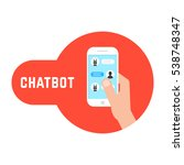 hand holding phone with chatbot.... | Shutterstock .eps vector #538748347