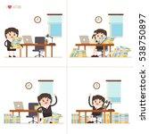 set of cartoon businesswoman... | Shutterstock .eps vector #538750897