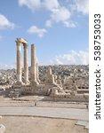 Small photo of Pillars of the temple of Hercules in Amman, Jordan