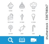cake  candy and muffin icons.... | Shutterstock .eps vector #538758067