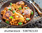 curry chicken with chickpeas on ... | Shutterstock . vector #538782133