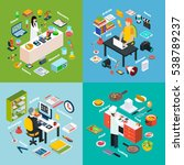 isometric 2x2 compositions... | Shutterstock . vector #538789237