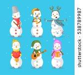 snowmen set for christmas  | Shutterstock .eps vector #538789987