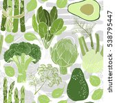 green vegetables. seamless... | Shutterstock .eps vector #538795447