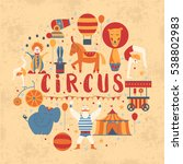 circus collection with carnival ... | Shutterstock .eps vector #538802983