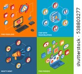 isometric icon set with... | Shutterstock . vector #538803277