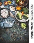 broccoli   champignons mushroom ... | Shutterstock . vector #538828423