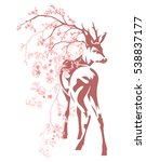deer among pink blooming... | Shutterstock .eps vector #538837177