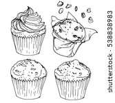 muffins drawn line is not white.... | Shutterstock .eps vector #538838983