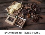 pieces of parmesan cheese and... | Shutterstock . vector #538844257