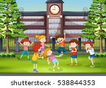 many kids playing in the school ... | Shutterstock .eps vector #538844353