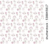 pink and white wedding icons... | Shutterstock .eps vector #538845817