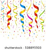 colorful streamers and confetti ... | Shutterstock .eps vector #538895503