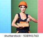 pretty cute sexy builder girl... | Shutterstock . vector #538941763