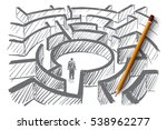 vector hand drawn labyrinth... | Shutterstock .eps vector #538962277