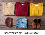 woman winter clothes on wooden... | Shutterstock . vector #538985593