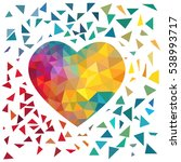 colorful triangle heart... | Shutterstock .eps vector #538993717