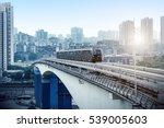 light rail moving on railway in ... | Shutterstock . vector #539005603