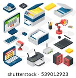 isometric office equipment... | Shutterstock .eps vector #539012923