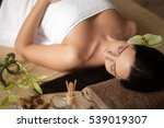 beautiful young woman at a spa... | Shutterstock . vector #539019307