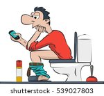 a man sitting on the toilet with your phone. Illustration Vector