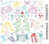 happy kids around fir tree with ... | Shutterstock .eps vector #539031973