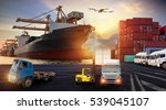 forklift handling container box ... | Shutterstock . vector #539045107