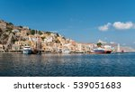 powerboat and ferryboat docked... | Shutterstock . vector #539051683