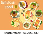 popular meat and fish dishes... | Shutterstock .eps vector #539053537