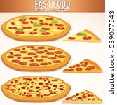 hot whole pizza set vector.... | Shutterstock .eps vector #539077543