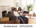 couple take a break on sofa... | Shutterstock . vector #539142433