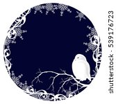white owl among snowflakes  ...