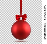 red christmas ball with ribbon... | Shutterstock .eps vector #539215297