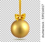 gold christmas ball with ribbon ... | Shutterstock .eps vector #539216017