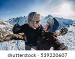 funny couple taking o selfie on ... | Shutterstock . vector #539220607