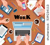 workplace top view background... | Shutterstock .eps vector #539234113