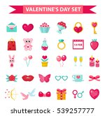 valentine's day icon set  flat... | Shutterstock .eps vector #539257777