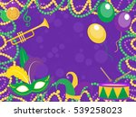 mardi gras poster with mask ... | Shutterstock .eps vector #539258023