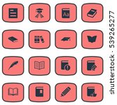 set of 16 simple books icons.... | Shutterstock .eps vector #539265277
