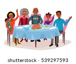 dinner with afro american happy ... | Shutterstock .eps vector #539297593