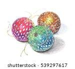 illustration of three christmas ... | Shutterstock . vector #539297617